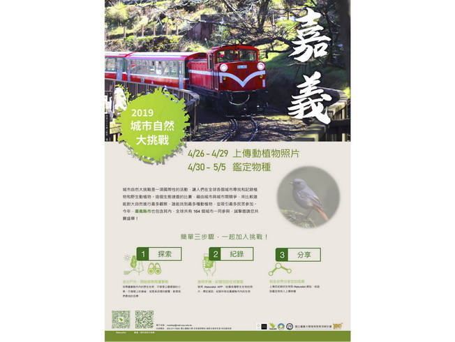 The poster is designed with the Alishan train to highlight the characteristics of Chiayi.