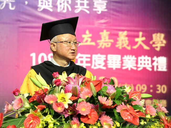 NCYU President Chyung Ay made encouraging remarks to the graduates.