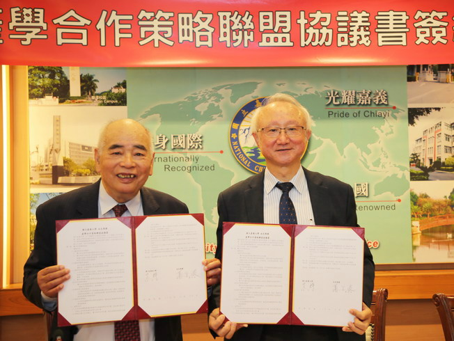 A group photo of Nam Liong Group CEO Shao Ten-Po (left) and NCYU President Chyung Ay (right) after the signing ceremony