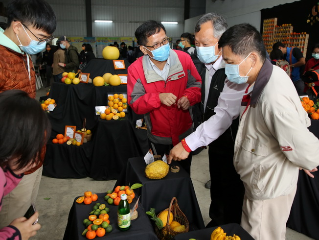 Lin Chang-Li (second from right), Deputy Director of the Soil and Water Conservation Bureau, and Lee Tan-Cha (first from right), Professor of the NCYU Department of Horticultural Science, visited the citrus display.