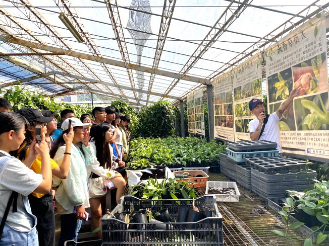 The publicly funded students of agriculture at NCYU visited the herb greenhouse to know more about the breeding, cultivation and application of vanilla plants.